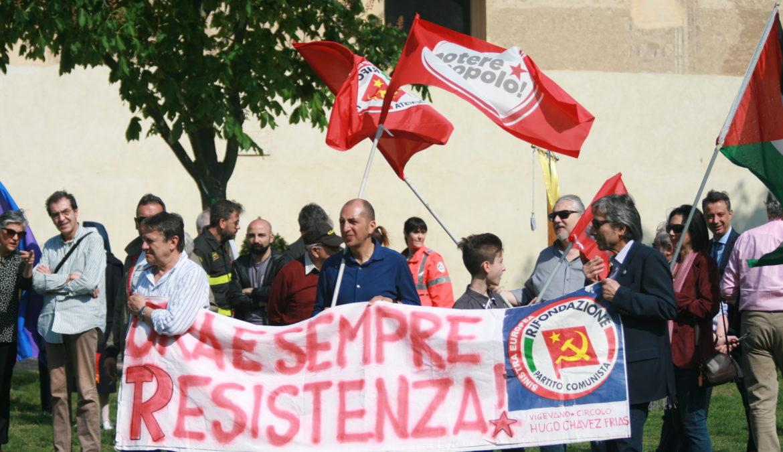 Immagini della manifestazione del 73° anniversario della Liberazione dal nazifascismo. 25 aprile 2018 nel Castello di Vigevano